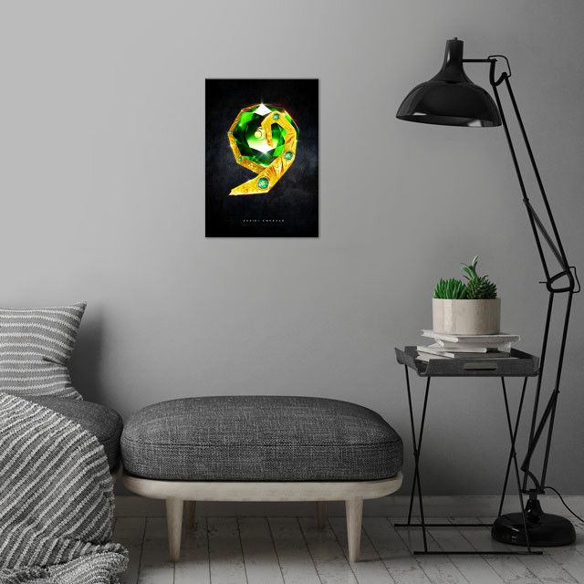 My rendition of a realistic Kokiri Emerald from the Forest Temple inspired by Legend of Zelda Ocarina of Time wall art is showcased in interior