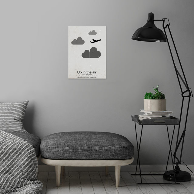 'Up in the air' pictogram movie poster.  wall art is showcased in interior