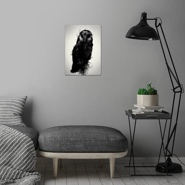The Owl wall art is showcased in interior