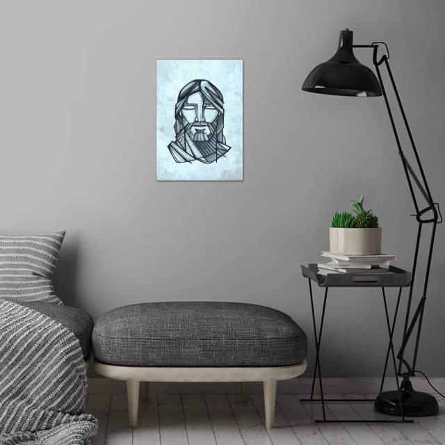 Hand drawn illustration or drawing of Jesus Christ Face... wall art is showcased in interior
