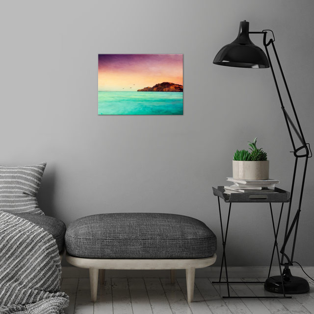 Impressionistic view of the Mediterran Sea on summer ev... wall art is showcased in interior