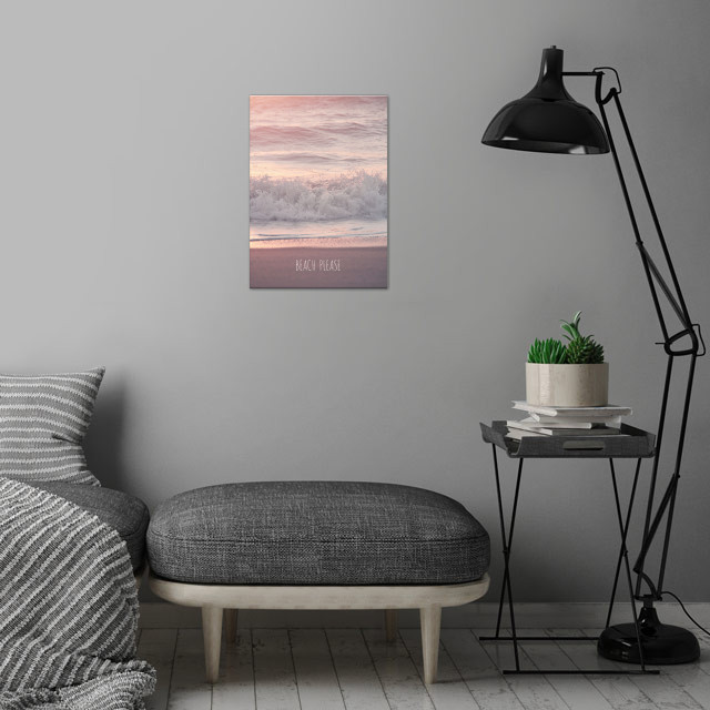 BEACH PLEASE by Monika Strigel wall art is showcased in interior