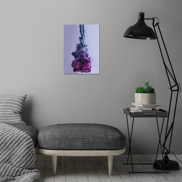 Blob Blue Violett wall art is showcased in interior