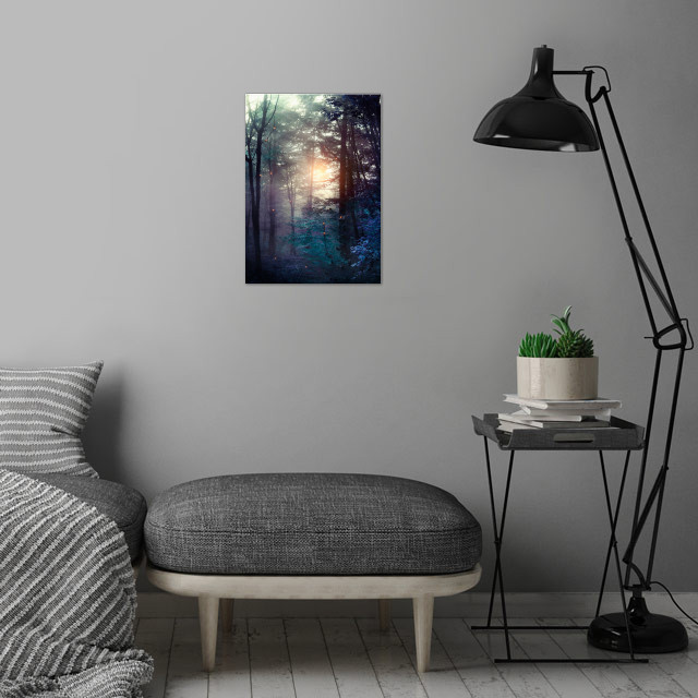 A walk in the forest wall art is showcased in interior