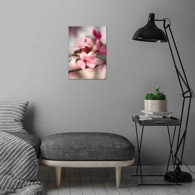 Cherry Blossoms wall art is showcased in interior