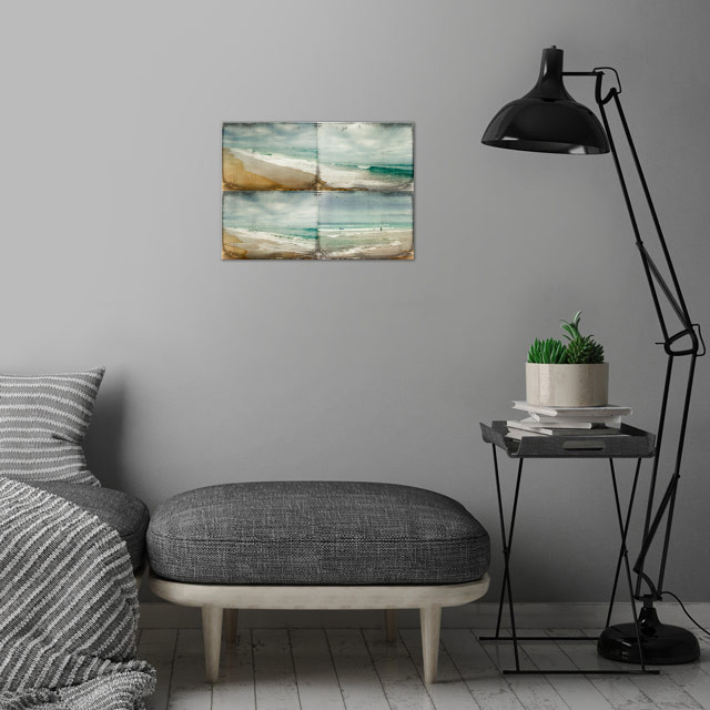 four scenes from the Atlantic in summer wall art is showcased in interior