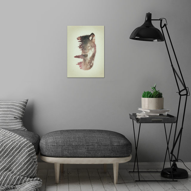 Wolf and habitat double exposure artwork. wall art is showcased in interior