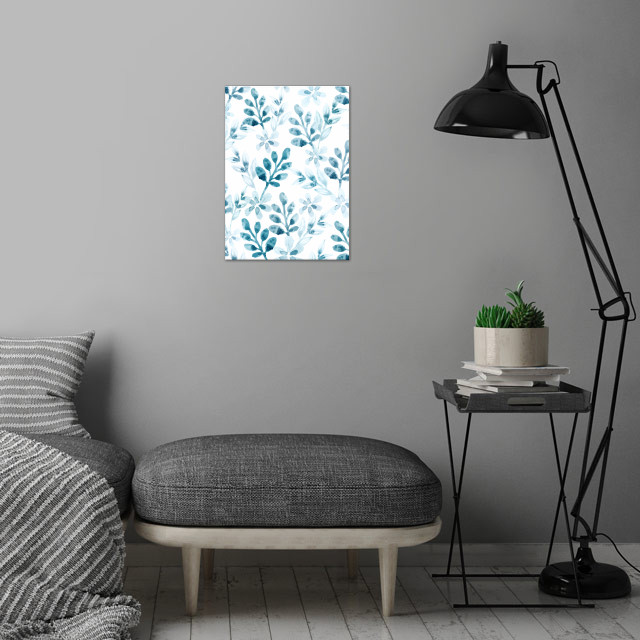 Watercolor Floral Pattern (Winter Version) wall art is showcased in interior