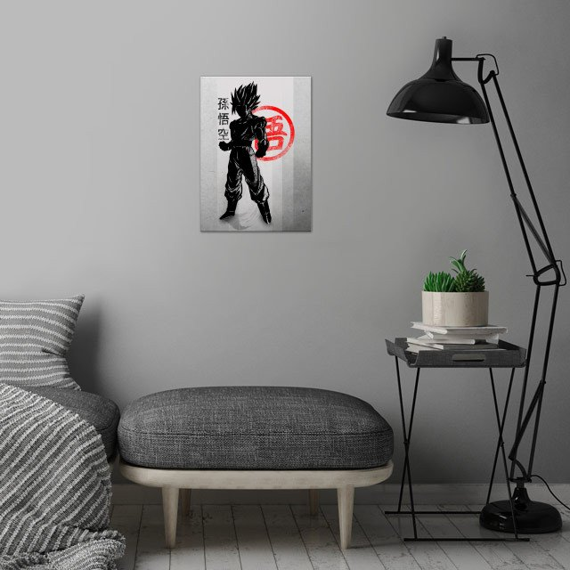 Crimson Goku wall art is showcased in interior
