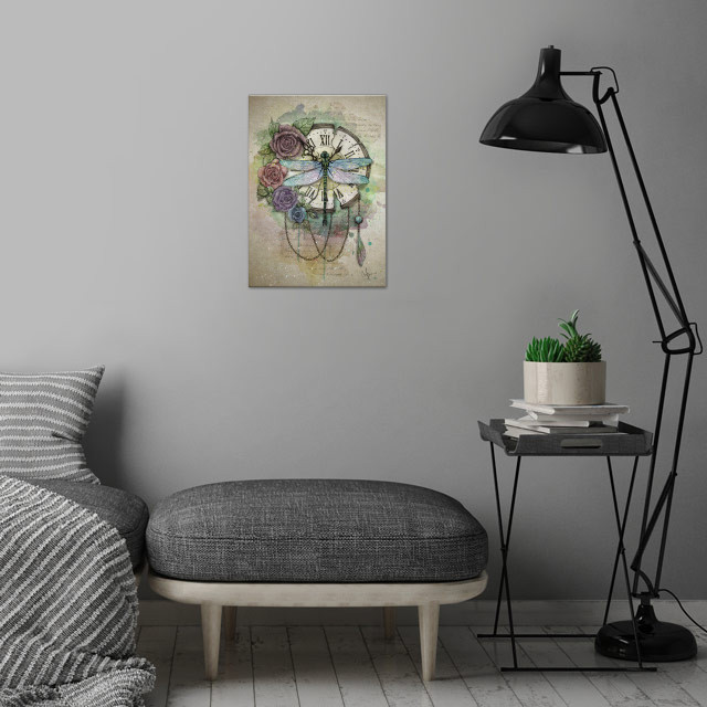 Time Flies wall art is showcased in interior