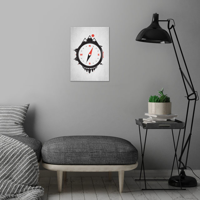 Adventure Compass wall art is showcased in interior