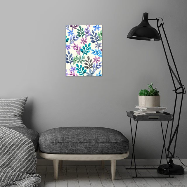 watercolor floral pattern  wall art is showcased in interior