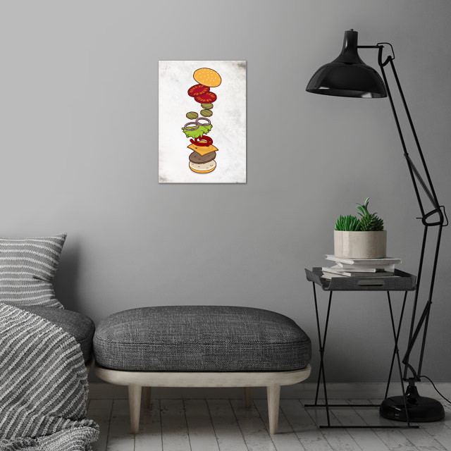 cheeseburger exploded - isometric wall art is showcased in interior