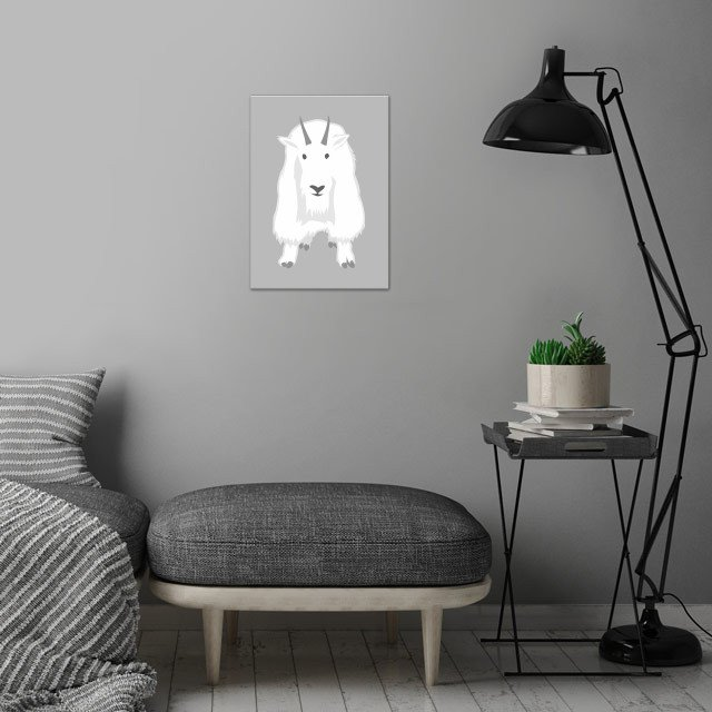 Mountain Goat wall art is showcased in interior