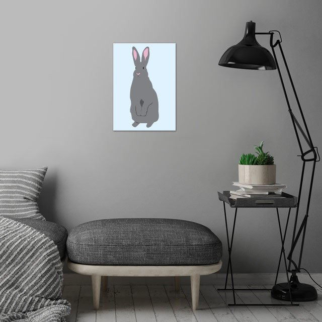 Grey Rabbit wall art is showcased in interior
