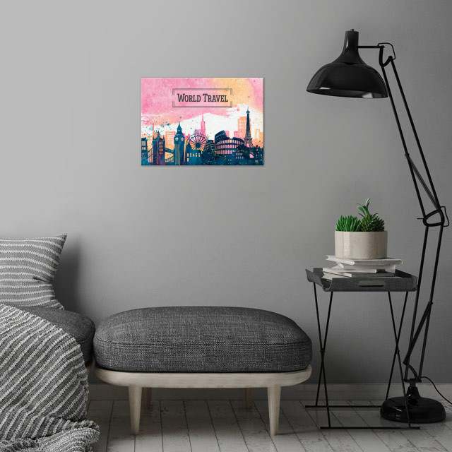 If you're a world traveler, like us, then you'll love this design featuring the most emblematic monuments and buildings around the world.  This would be the perfect addition for your home or your office. wall art is showcased in interior