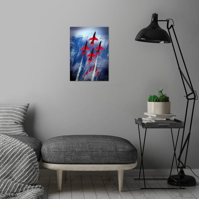 The RAF Red Arrows display team.  The Red Arrows fly th... wall art is showcased in interior