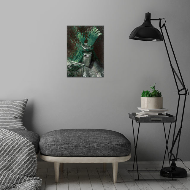Green Knight wall art is showcased in interior