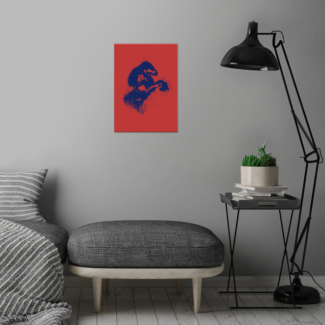 Horse in 2 colors wall art is showcased in interior