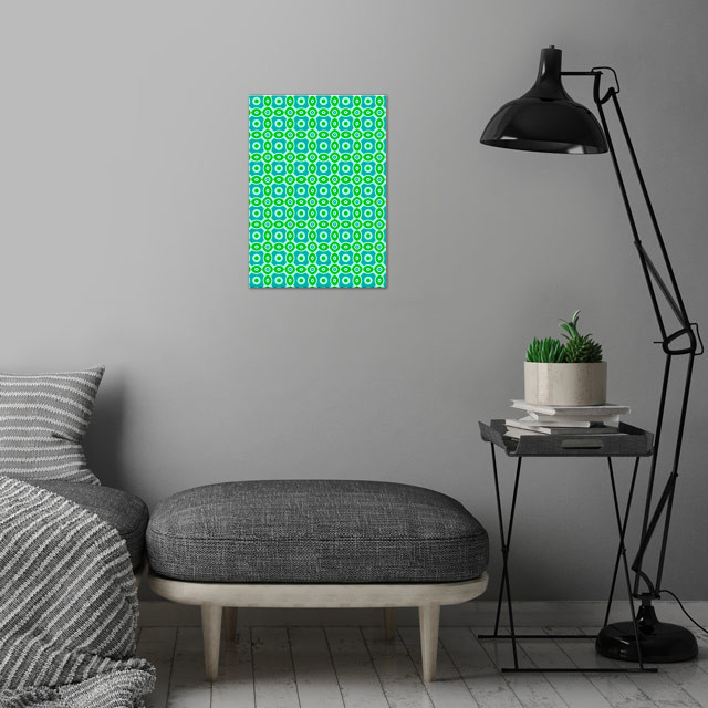 green and blue geometric pattern wall art is showcased in interior