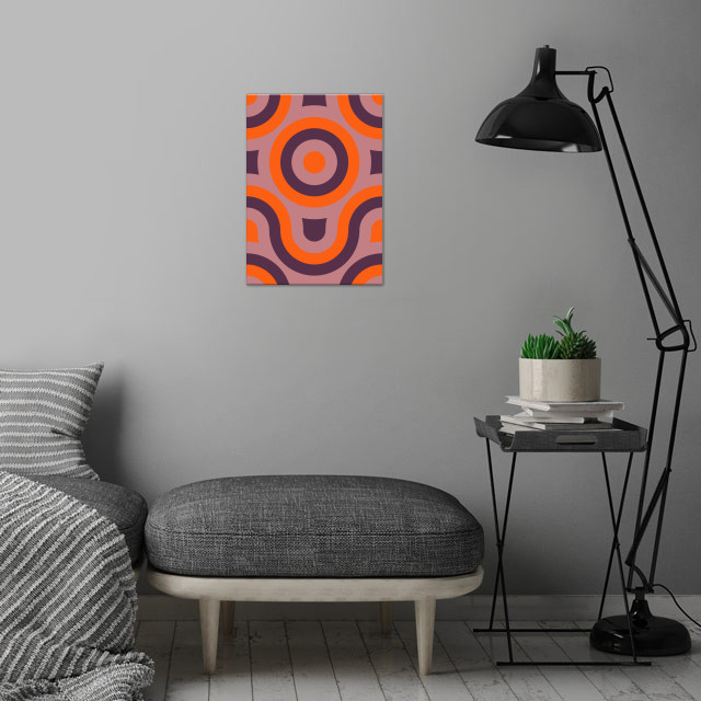 purple and orange geometric abstract wall art is showcased in interior