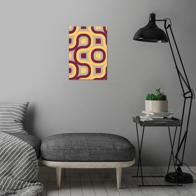 pink and yellow geometric abstract wall art is showcased in interior