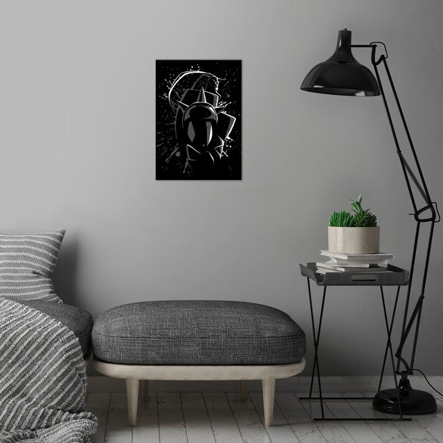 Metal wall art is showcased in interior
