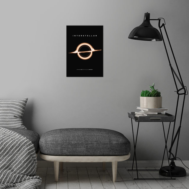 A simplistic movie poster rendition centered on the black hole Gargantua from the 2014 Sci-fi hit, Interstellar. The film is a first ever to depict black holes as they would actually appear based on real physics equations. Directed by Christoper Nolan, Starring Matthew Mcconaughey, Jessica Chastain, Anne Hathaway, Matt Damon and Michael Caine.  wall art is showcased in interior