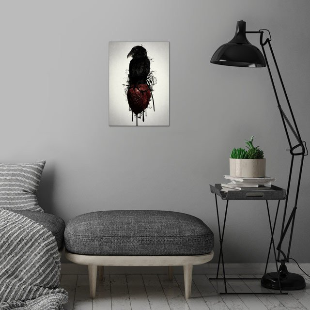 Raven and Heart Grenade wall art is showcased in interior