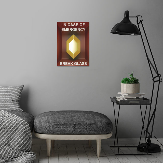 In case of emergency... Golden rupee! wall art is showcased in interior