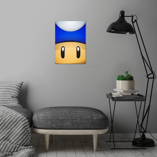 Mini Moshroom. FaceGame. Illustration with highlights and shadows. wall art is showcased in interior
