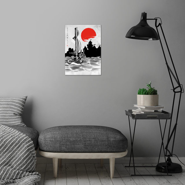 Red Sun Hero wall art is showcased in interior