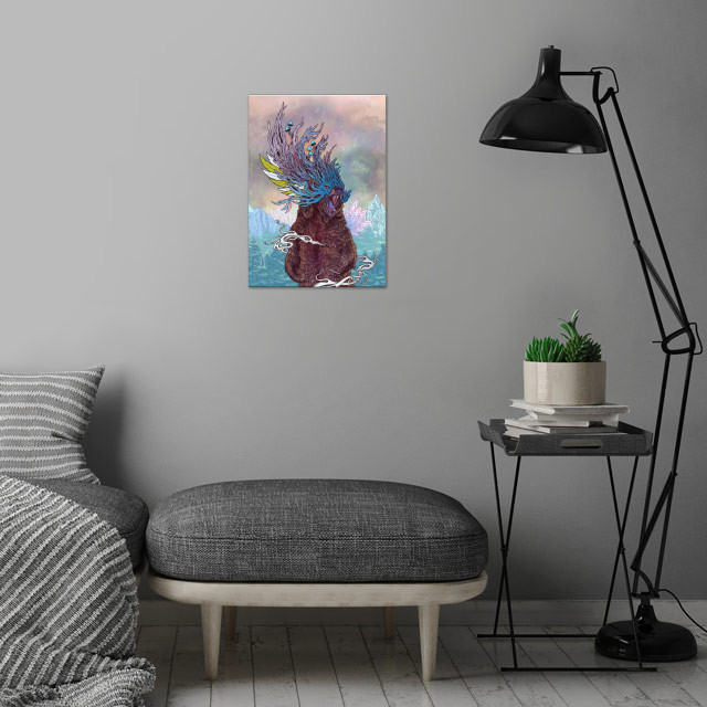 Journeying Spirit (Bear) wall art is showcased in interior