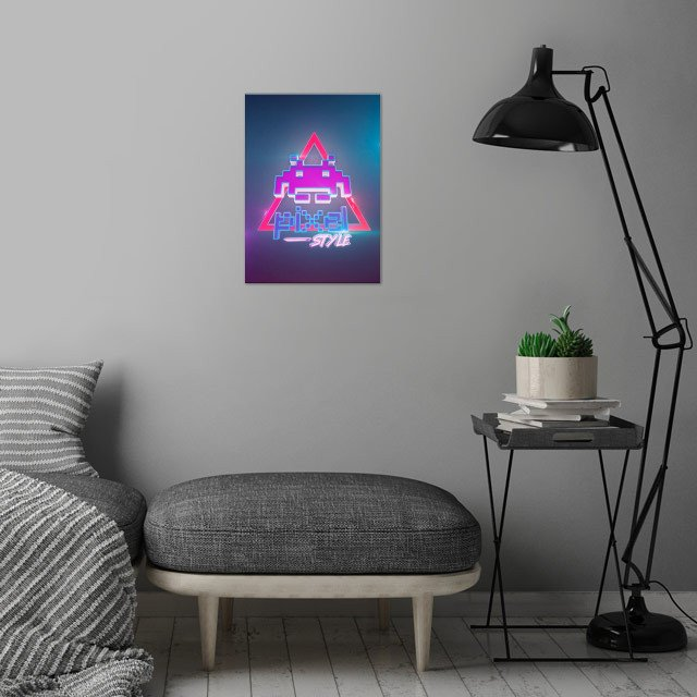 3D pixel 80s style (modeling, post-production, edition & render in After Effects) wall art is showcased in interior