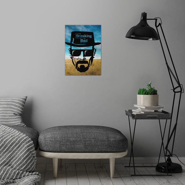 Heisenberg wall art is showcased in interior