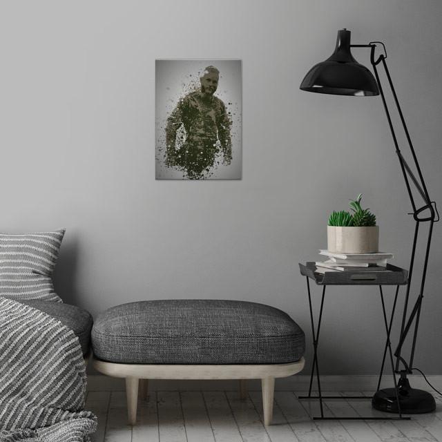 Viking Splatter effect artwork inspired by Ragnar Lothbrok from Vikings. wall art is showcased in interior