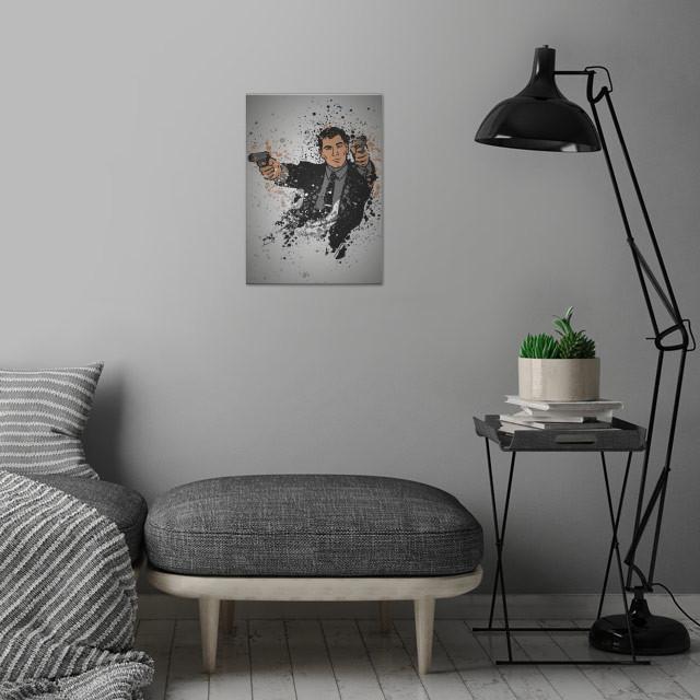 Danger Zone Splatter effect artwork inspired by the TV show Archer. wall art is showcased in interior