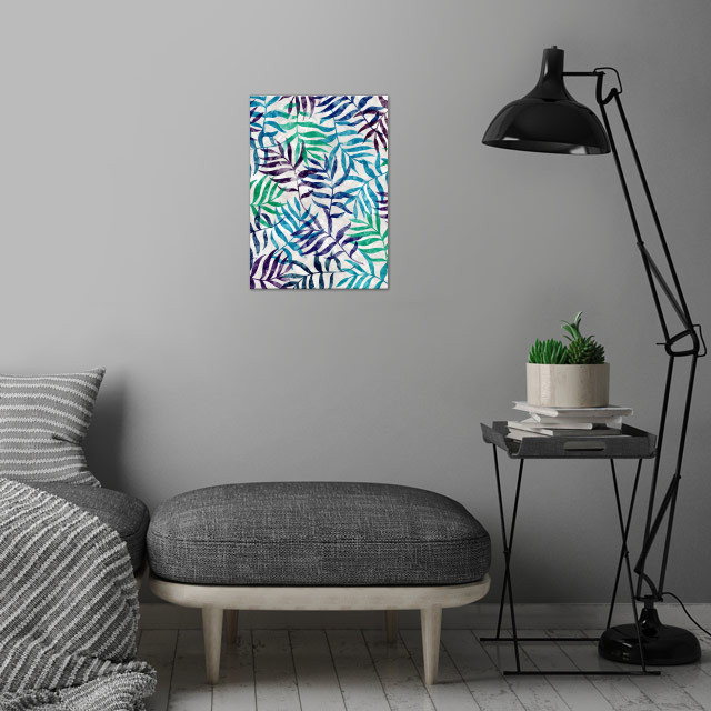 Watercolor Tropical Palm Leaves II by Amir Faysal   wall art is showcased in interior