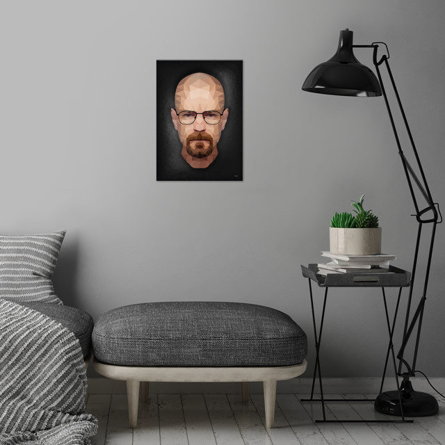 Walter White - Portrait - Low Poly wall art is showcased in interior