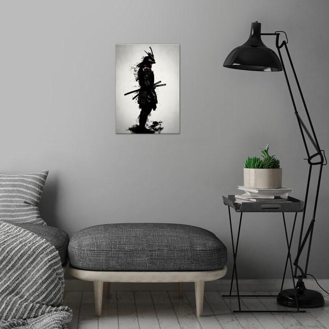 Armored Samurai wall art is showcased in interior