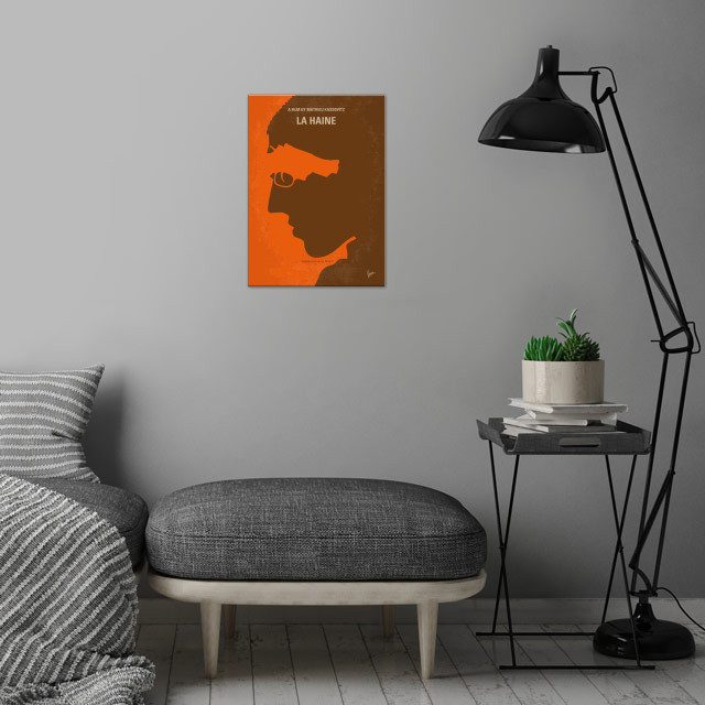 No734 My La Haine minimal movie poster  24 hours in the... wall art is showcased in interior
