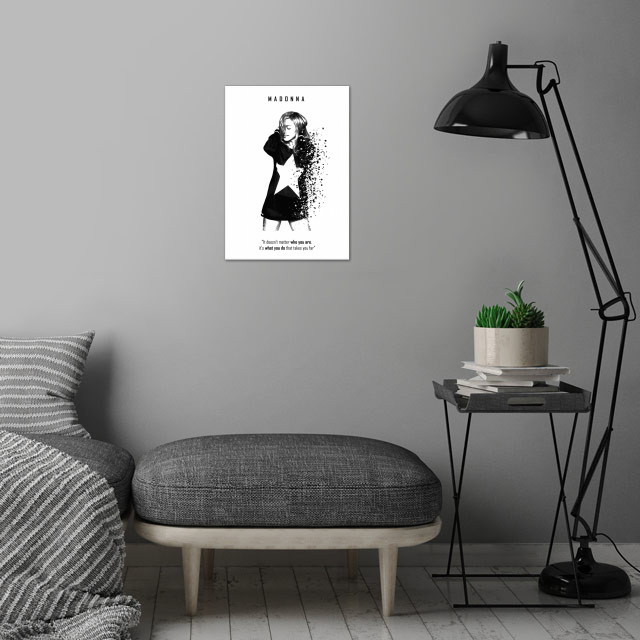 Madonna wall art is showcased in interior