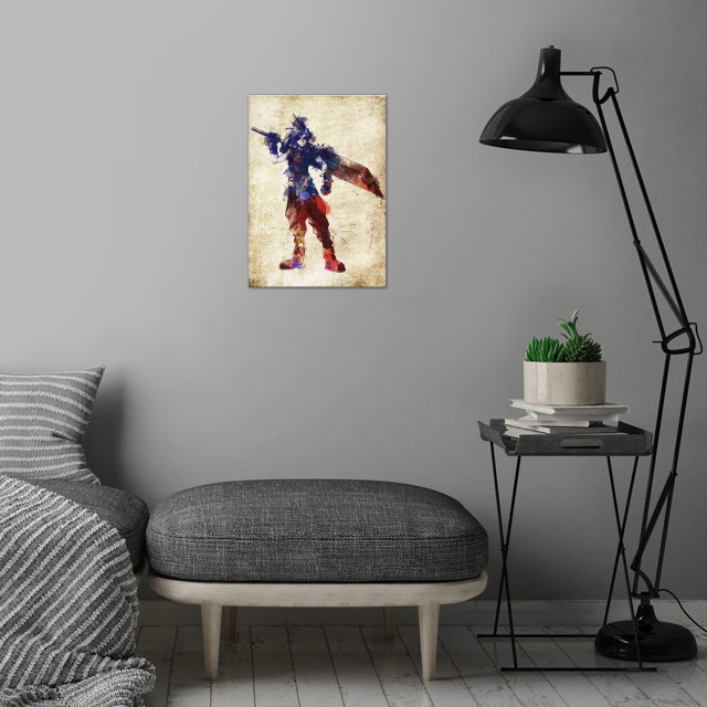 Cloud FF7 wall art is showcased in interior