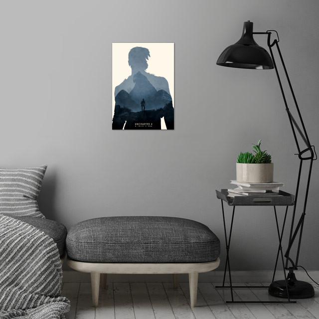 Poster design for the video game, Uncharted 4. wall art is showcased in interior