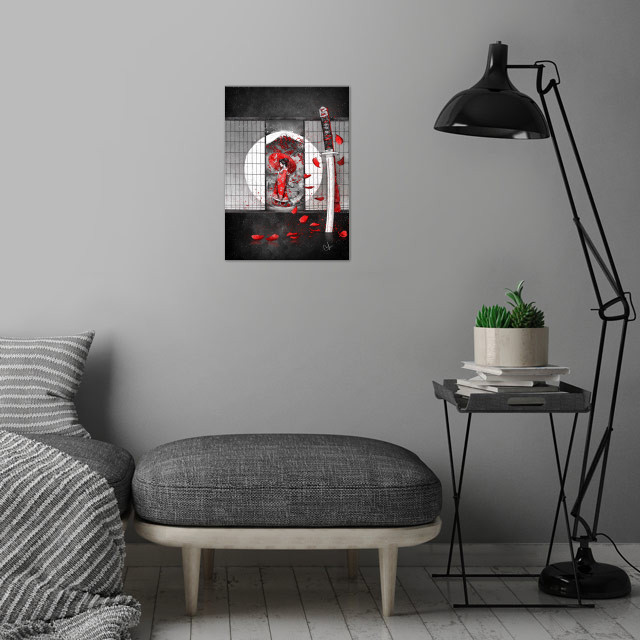 The waitingHe said: I will never fall, for I'm a Samurai wall art is showcased in interior