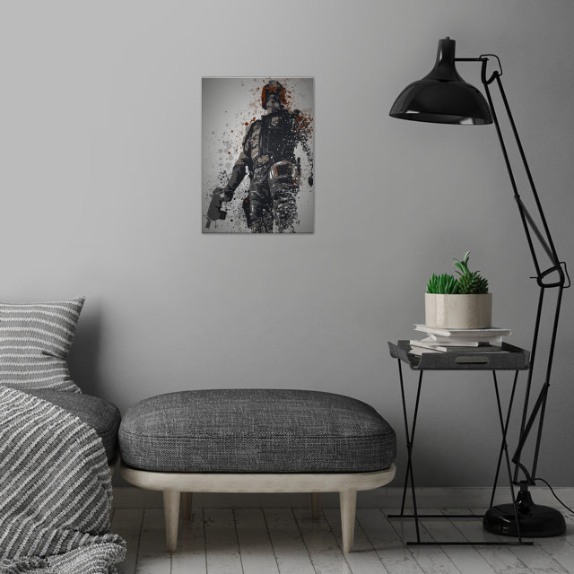 I am the law! Splatter effect artwork inspired by Judge Dredd wall art is showcased in interior