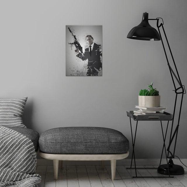 Quantum Splatter effect artwork inspired by James Bond wall art is showcased in interior
