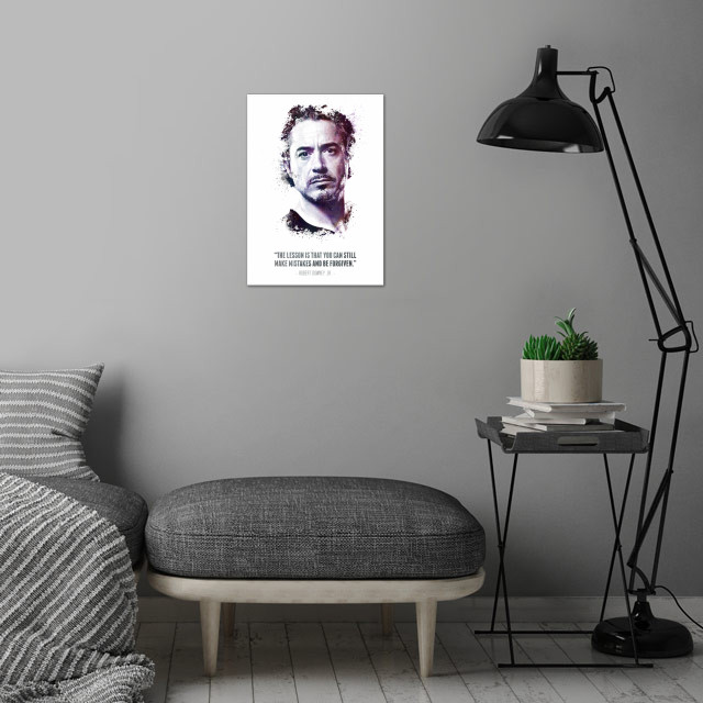 The Legendary Robert Downey Jr. and his quote. wall art is showcased in interior