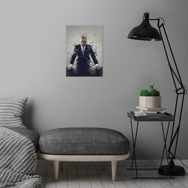 Frank Underwood. Splatter effect artwork inspired by the House of cards universe. wall art is showcased in interior