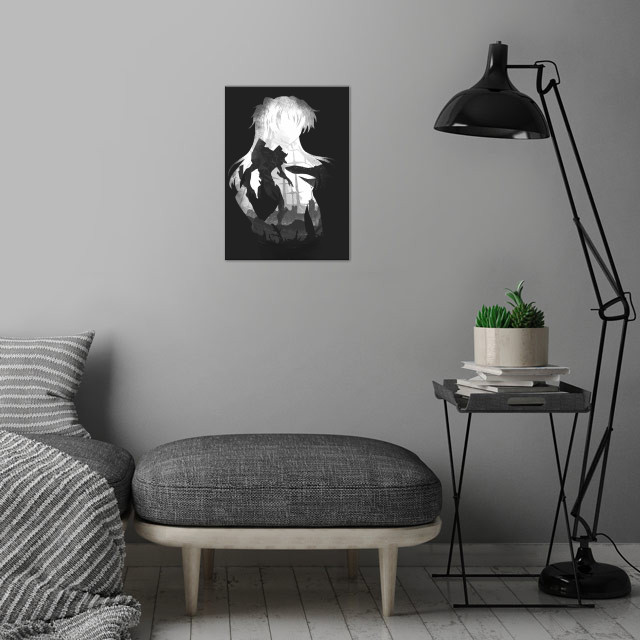 Monochrome Pilot Asuka wall art is showcased in interior